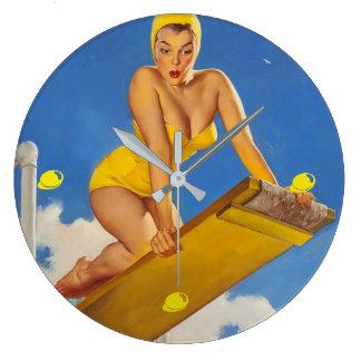 Vintage Elvgren Diving Board Swimmer Pinup Girl Large Clock