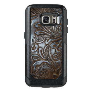 Vintage Embossed Brown Leather OtterBox Samsung Galaxy S7 Case
