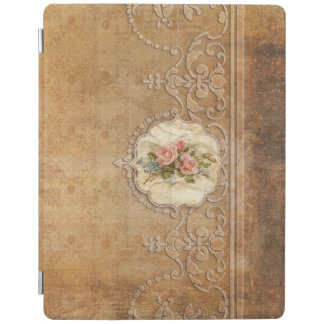 Vintage Embossed Gold Scrollwork and Roses iPad Cover