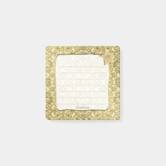 Vintage Embossed Golden Floral Pattern Post-it Notes