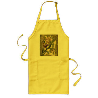 Vintage Embroidered Leaves and Flowers Apron