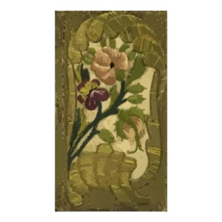 Vintage Embroidered Leaves and Flowers Poster