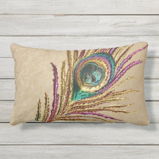 Vintage Embroidery Embroidered Peacock Feather Lumbar Pillow