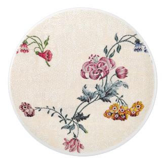 Vintage Embroidery Floral Garden Knob
