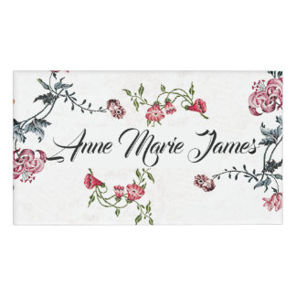 Vintage Embroidery Flowers Floral Name Tag
