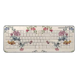 Vintage Embroidery Flowers Wireless Keyboard