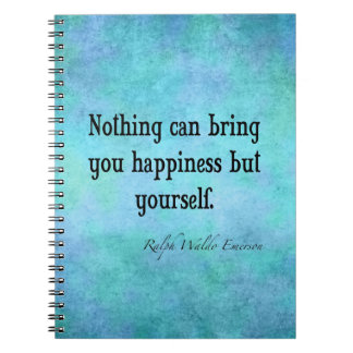 Vintage Emerson Happiness Inspirational Quote Blue Spiral Notebooks