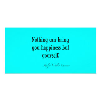 Vintage Emerson Happiness Quote Neon Blue Teal Photo Cards