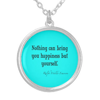 Vintage Emerson Happiness Quote Neon Blue Teal Silver Plated Necklace