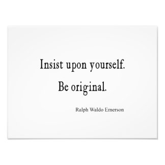 Vintage Emerson Inspirational Be Original Quote Photo Print