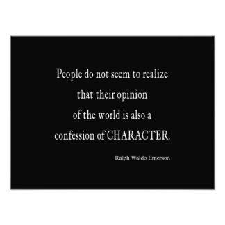 Vintage Emerson Inspirational Character Quote Photo Print