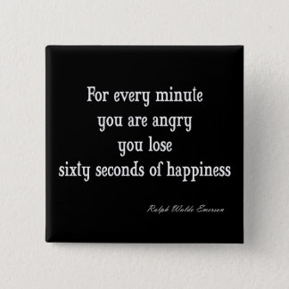 Vintage Emerson Inspirational Happiness Quote 15 Cm Square Badge