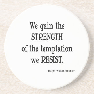 Vintage Emerson Inspirational Strength Quote Coaster