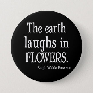Vintage Emerson The Earth Laughs in Flowers Quote 7.5 Cm Round Badge