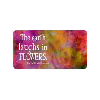 Vintage Emerson The Earth Laughs in Flowers Quote Label