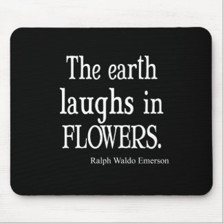 Vintage Emerson The Earth Laughs in Flowers Quote Mouse Pad