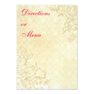 "Vintage Enclosure or Menu Card 5"" X 7"" Invitation Card"