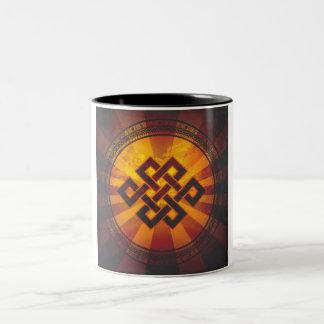 Vintage Endless Knot Print Two-Tone Coffee Mug