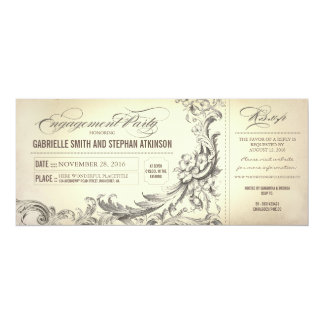 vintage engagement party tickets invitations