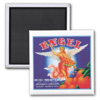 Vintage Engel Fruit Crate Label Square Magnet