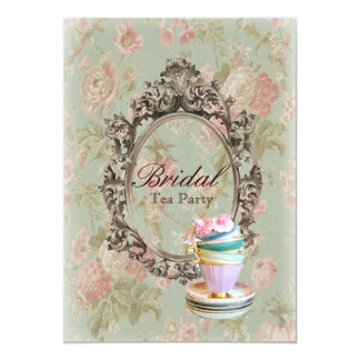 vintage english country floral  bridal tea party 13 cm x 18 cm invitation card