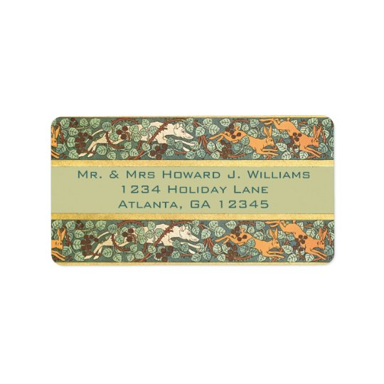 Vintage English Rabbit Hunt Return Address Address Label
