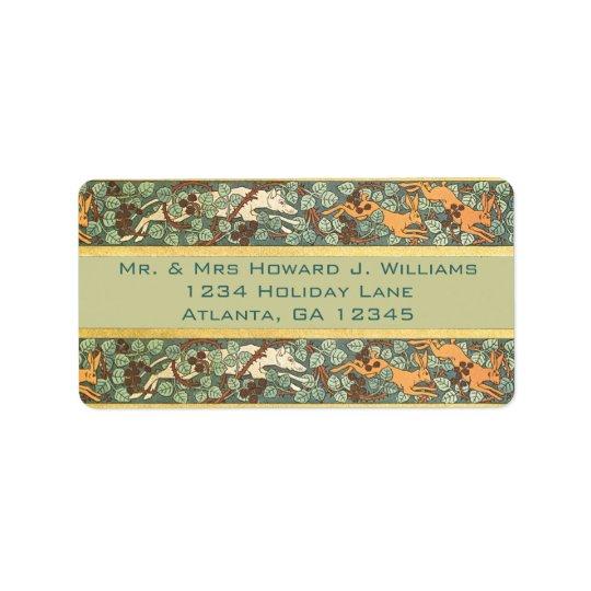 Vintage English Rabbit Hunt Return Address Label