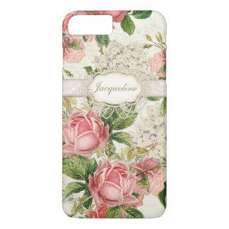 Vintage English Rose Lace n Hydrangea Floral Art iPhone 7 Plus Case