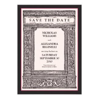 Vintage Engraved Frame Save the Date pink black Invite