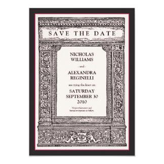 """Vintage Engraved Frame Save the Date (pink/black) 5"""" X 7"""" Invitation Card"""