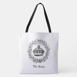Vintage Engraved King's Crown and Laurel Wreath Tote Bag