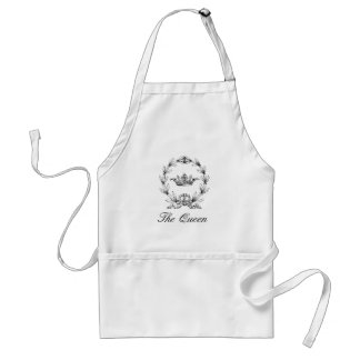 Vintage Engraved Queen's Crown and Laurel Wreath Standard Apron