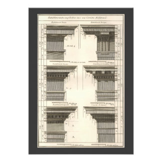 Vintage Entablatures Orders of Architecture Personalized Announcements