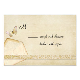 Vintage Envelope Butterfly RSVP Announcements