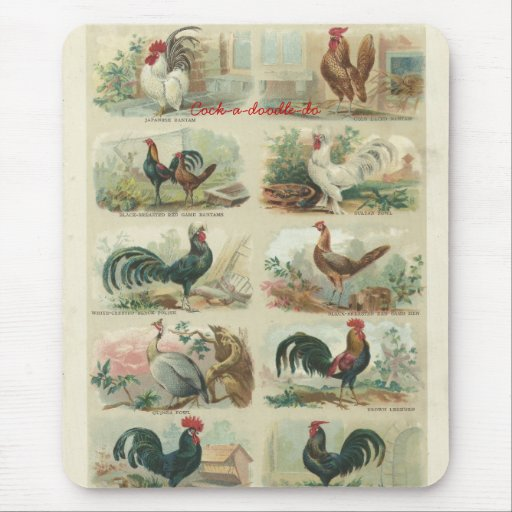 Vintage Ephemera Roosters Mouse Pad Mousepad