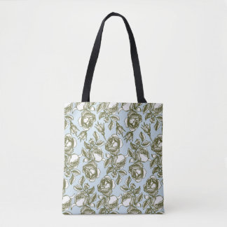 Vintage Etched Roses in White and Golds Tote Bag
