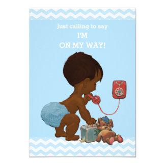 Vintage Ethnic Boy on Phone Baby Shower Chevrons 5x7 Paper Invitation Card