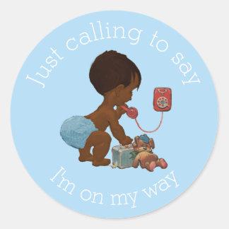 Vintage Ethnic Boy on Phone Baby Shower Chevrons Round Sticker