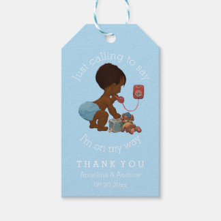 Vintage Ethnic Boy on Phone Baby Shower Thank You Gift Tags