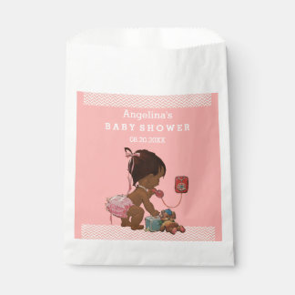 Vintage Ethnic Girl on Phone Baby Shower Chevrons Favour Bag