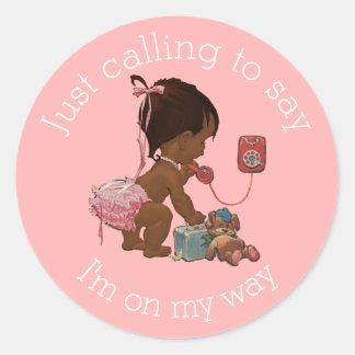Vintage Ethnic Girl on Phone Baby Shower Round Sticker