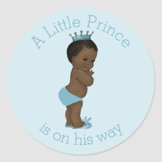 Vintage Ethnic Little Prince Baby Shower Blue Round Stickers