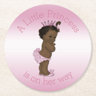 Vintage Ethnic Little Princess Baby Shower Pink Round Paper Coaster