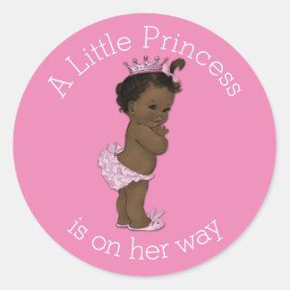 Vintage Ethnic Little Princess Baby Shower Pink Round Sticker