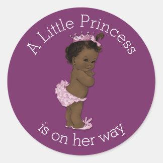 Vintage Ethnic Little Princess Baby Shower Round Stickers