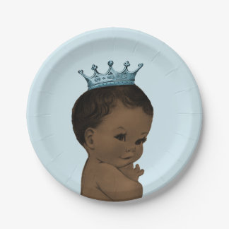 Vintage Ethnic Prince Baby Shower Blue 7 Inch Paper Plate