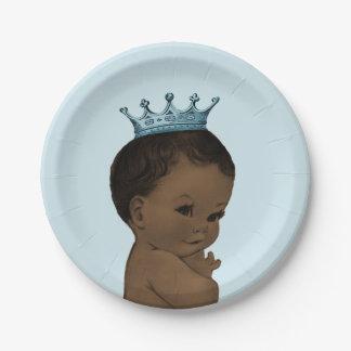 Vintage Ethnic Prince Baby Shower Blue Paper Plate
