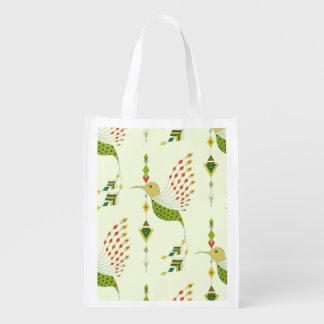 Vintage ethnic tribal aztec bird reusable grocery bag