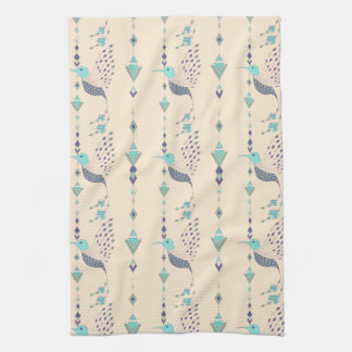 Vintage ethnic tribal aztec bird tea towel
