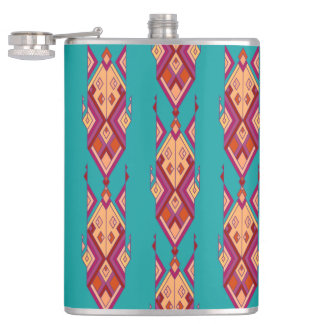 Vintage ethnic tribal aztec ornament hip flask